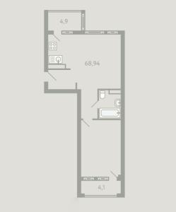 Планировка 2-комнатной квартиры в Загородный квартал